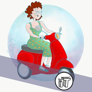 illustration Tardive || Promenade en Scooter