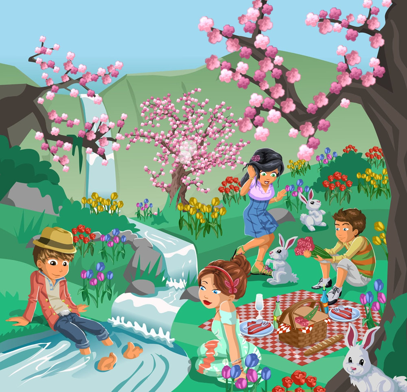 Simon LaBadie Chartrand - Vectorial Spring Time Illustration Friends Picnic